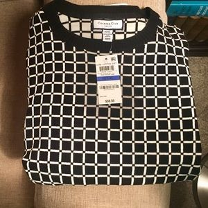 Charter Club Grid Print Sweater NWT